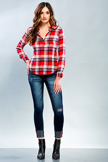 Junior Long Sleeve Plaid Shirt