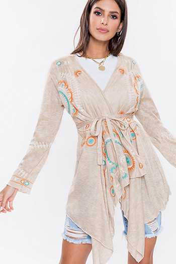 Junior Embroidered Boho Kimono With Tie