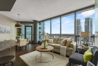 Live the Urban Village Lifestyle in this Two Bedroom Southeast Corner Suite at Keynote One