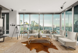 Two Bedroom & Den Penthouse Suite with Panoramic Downtown Views at Vetro
