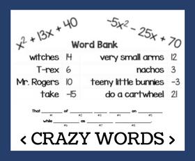 Cd crazy words   factoring quadratics %281%29