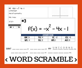 Cd word scramble   graphing quadratics