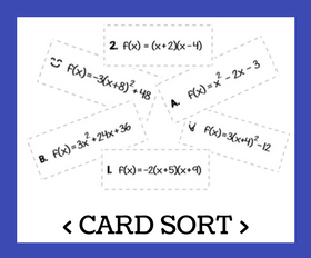 Cd card sort   converting between forms with quadratic functions
