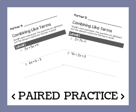 Paired practice   combining like terms