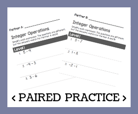 Paired practice   integer operations