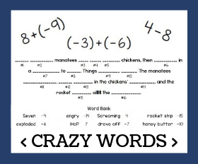 Cd crazy words   adding and subtracting integers