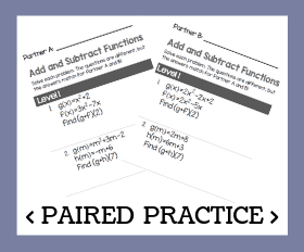 Paired practice   adding and subtracting functions