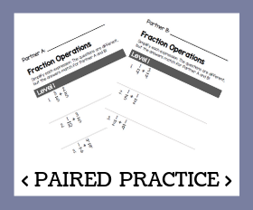 Paired practice   adding and subtracting fractions