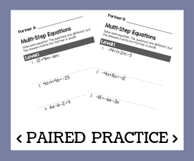 Paired practice   multi step equations