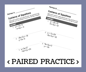 Paired practice   systems of equations with substitution