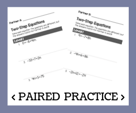 Paired practice   two step equations
