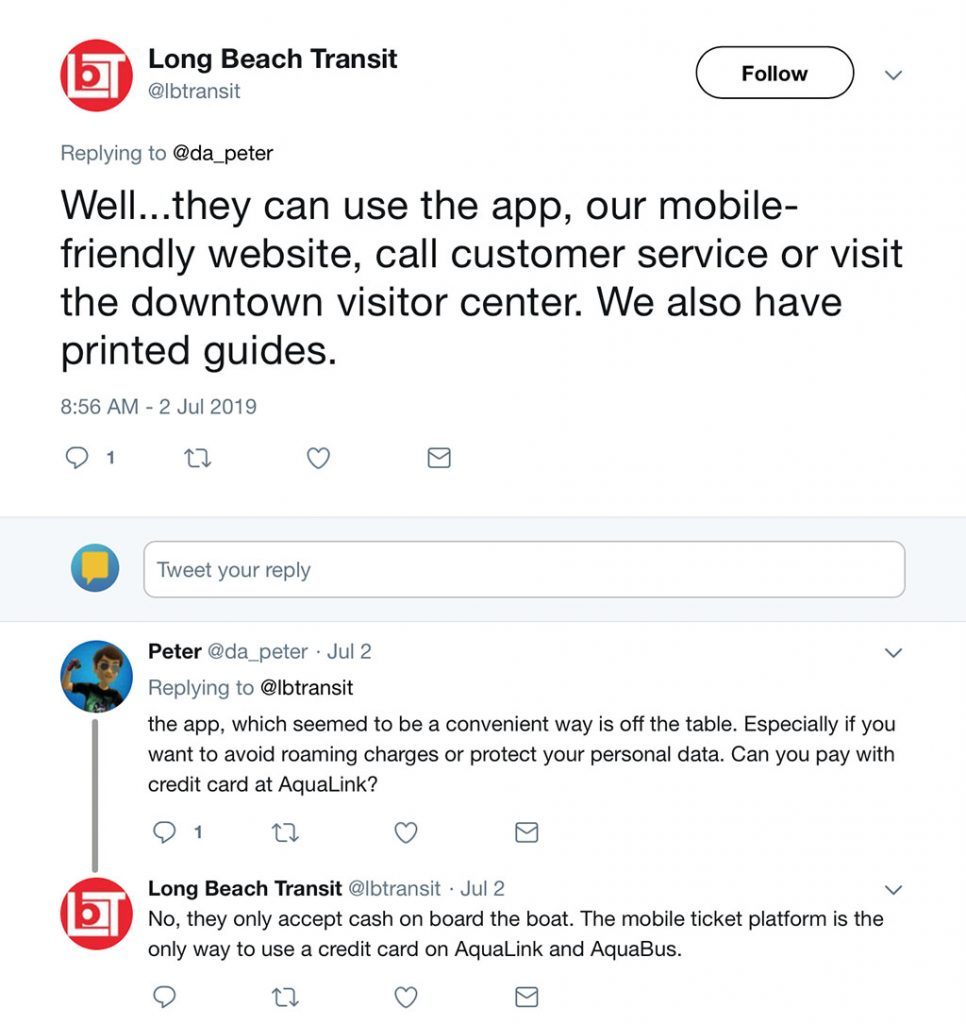 Long Beach Transit Tweet