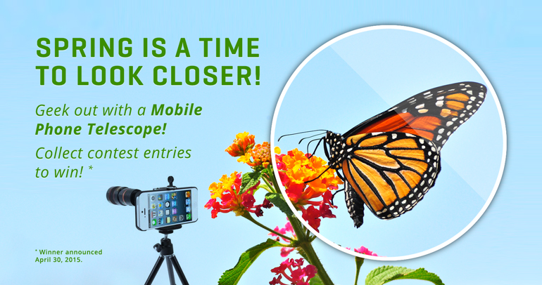 Collect your contest entries and geek out and win a Mobile Phone Telescope!