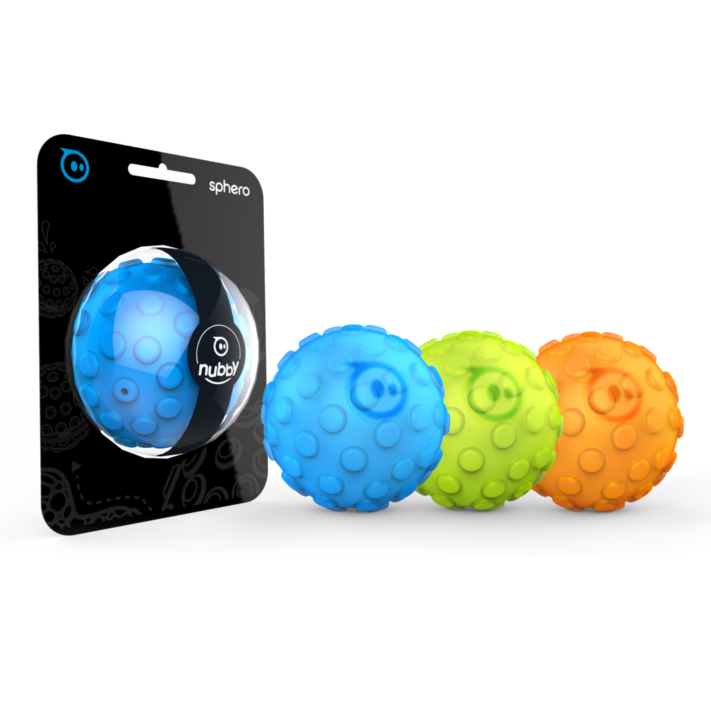 Explore the elements with a custom Nubby Cover for Sphero. Nubby Covers shield Sphero from scratches and scuffs – plus they give your round robot all-terrain traction. Choose from three vibrant colors – or go all out and get one of each!  Sphero Nubby covers work with all Sphero versions.