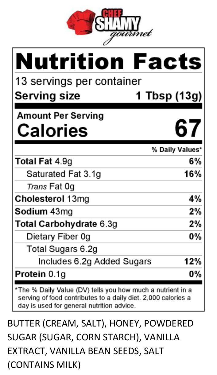 Vanilla Honey Butter Nutrition Info