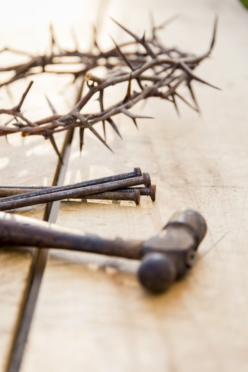 crown, thorns, hammer, nails, wood, table, easter, jesus