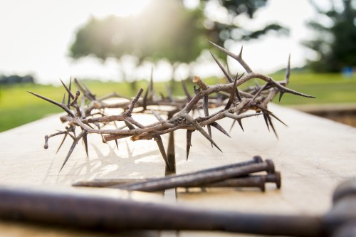 crown, thorns, hammer, nails, wood, table, easter, jesus, tree