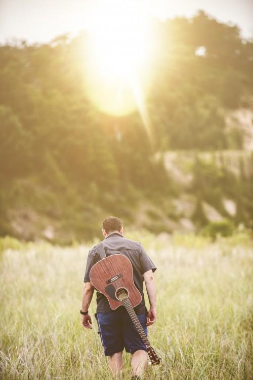 man, field, grass, walk, guitar, music, worship