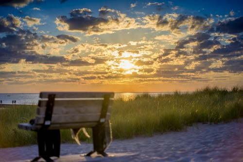 sun, sunset, beach, lake, ocean, bench, sand, relax