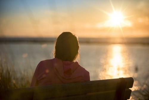 Girl, Woman, Worshiping, Ray, Sun, Light, Sunset