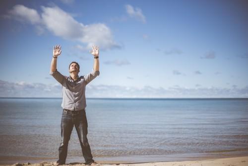 man, beach, sand, prayer, praying, ocean, worship