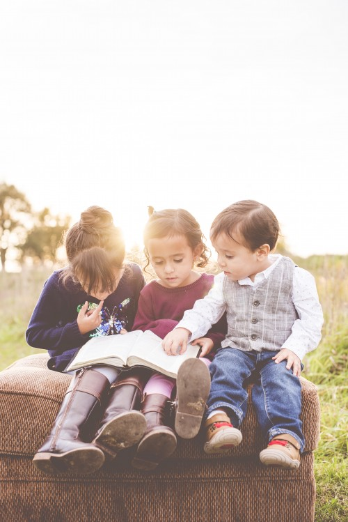 kids, children, friends, bible, study, read, sun, field