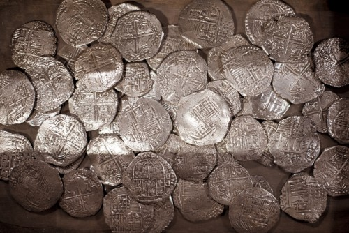 silver, coins, treasure, money, currency