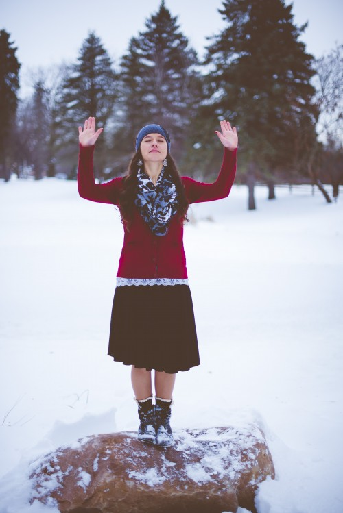 girl, woman, prayer, praying, snow, winter, worship