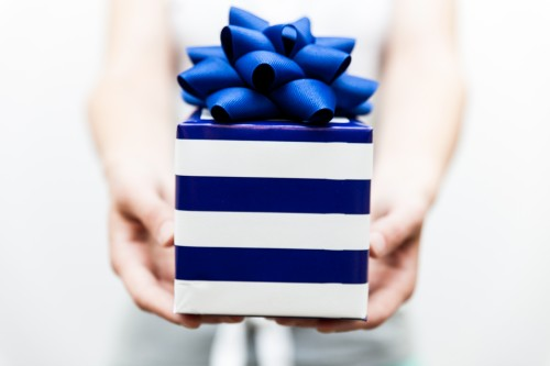 gift, blue, present, hands, holding, bow