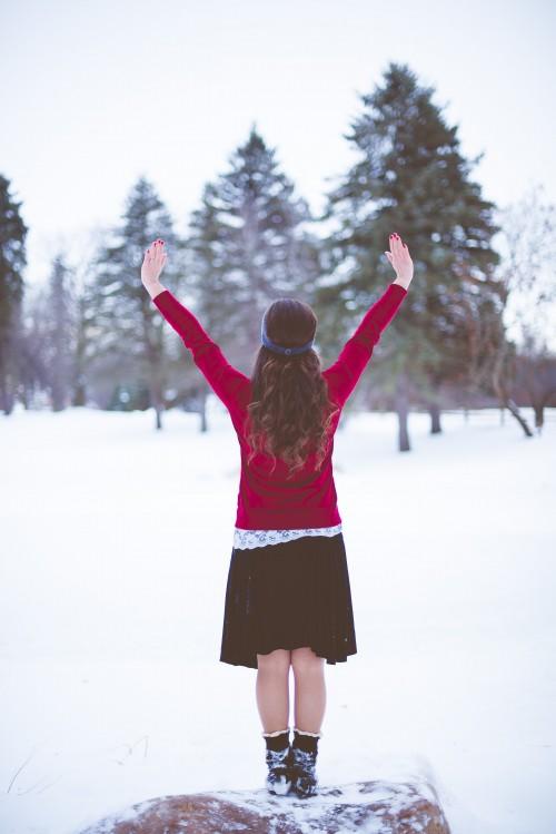 girl, woman, prayer, praying, snow, winter, worship