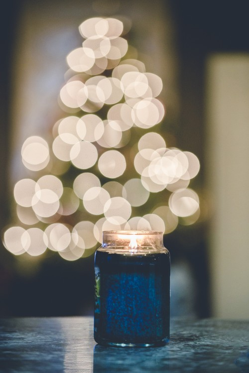christmas, tree, lights, decoration, candle, table