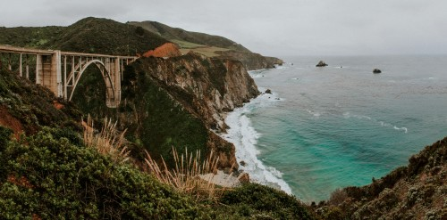 bridge, ocean, mountain, hills, water, shore, waves, forest, woods, sea, water