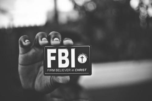 firm, believer, christ, badge, hand, fbi