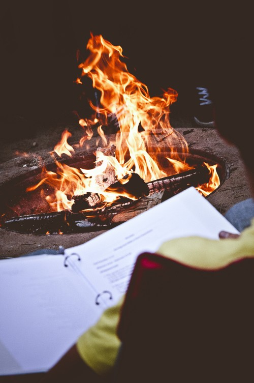 campfire, bonfire, devotions, bible, study, camp, fire, firepit