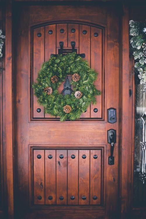 wreath, christmas, decoration, winter, door, wood, vintage