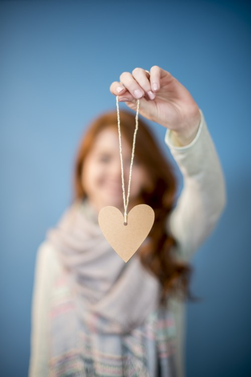 woman, heart, holding, string, label, valentine, mother's, day, love
