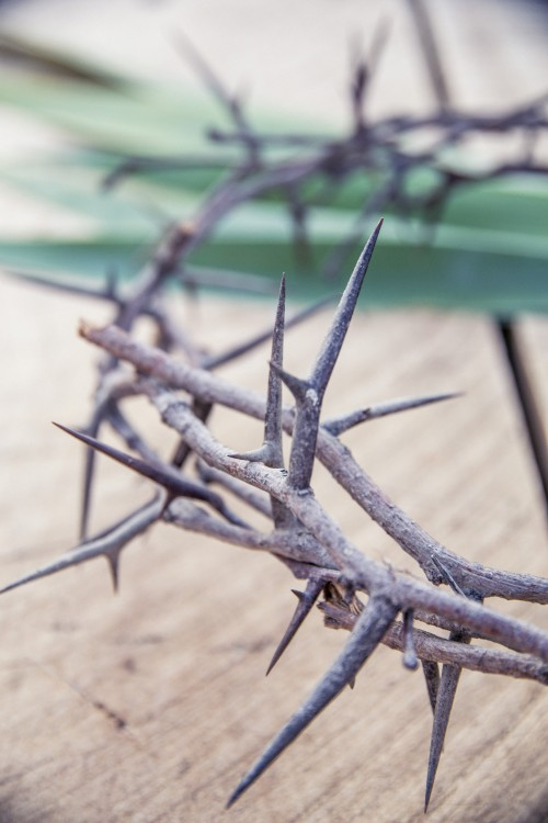 easter, crucifixion, crown, thorns, jesus, table, wood