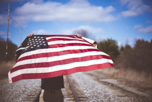 man, flag, america, usa, patriotic, independence, day, fourth, 4th, july, railroad, tracks, train