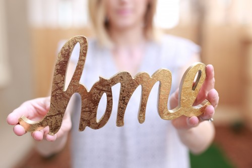 woman, sign, home, family