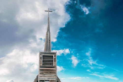 vintage, old, church, steeple, building, wood, sky, beautiful, blue, clouds, vibrant