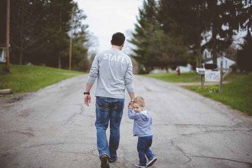 man, father, dad, son, child, boy, walking, road, staff