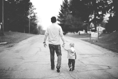 father, dad, son, child, boy, street, road, walking, black, white