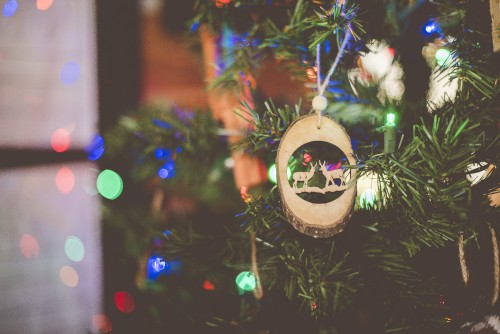 tree, christmas, ornament, decoration, lights, pine, deer, holiday, winter, season