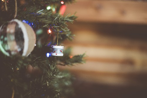 christmas, ornament, decoration, lights, pine, tree, holiday, winter, season, drum