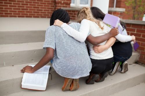 friends, ladies, praying, prayer, bibles, fellowship, kneeling, together
