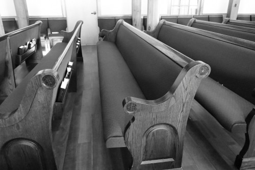 church, auditorium, pews, chairs, seating, wood, building, black, white, hymnals, books