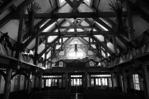 church, building, auditorium, pews, old, vintage, wood, black, white, rafters, beams