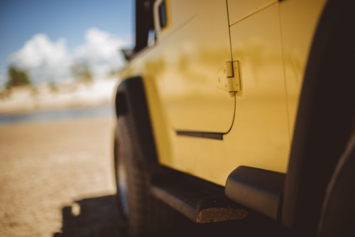 vehicle, jeep, car, sand, orv, dunes, desert, drive, automobile, yellow, summer