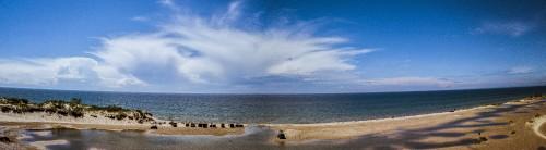 ocean, sea, summer, sky, shore, beach, sand, clouds, panorama