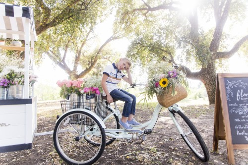 boy, bike, flowers, sunny, mother's day